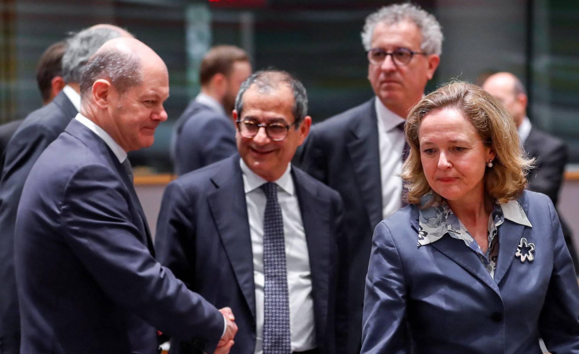 Los ministros de Economía de Alemania, Italia y España.