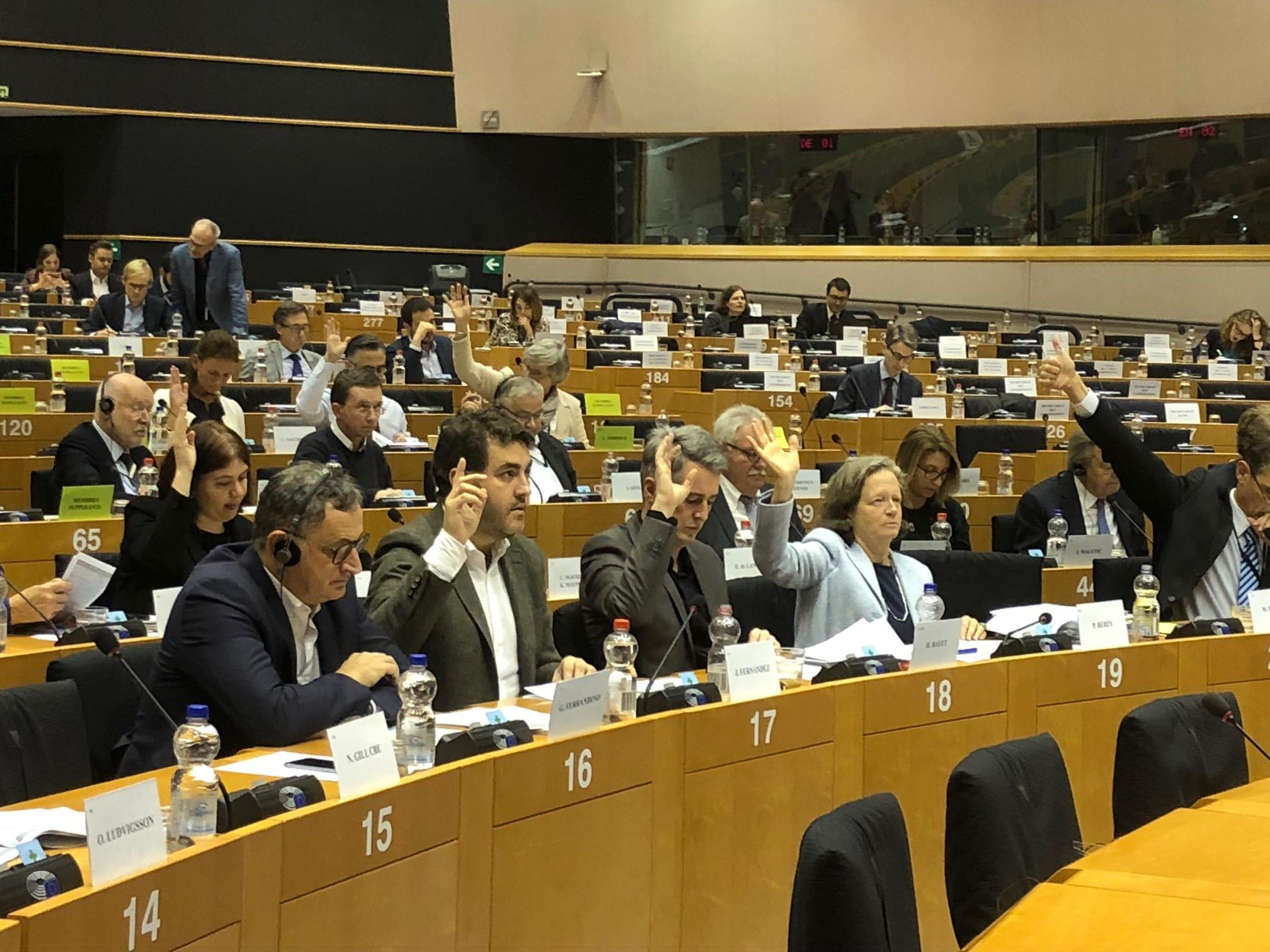 Jonas Fernandez votando en el Parlamento europeo