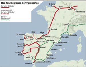 Mapa de Europa del corredor atlántico con la inclusión del último tramo Asturias y Galicia