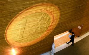 Proyección moneda euro en el Parlamento europeo