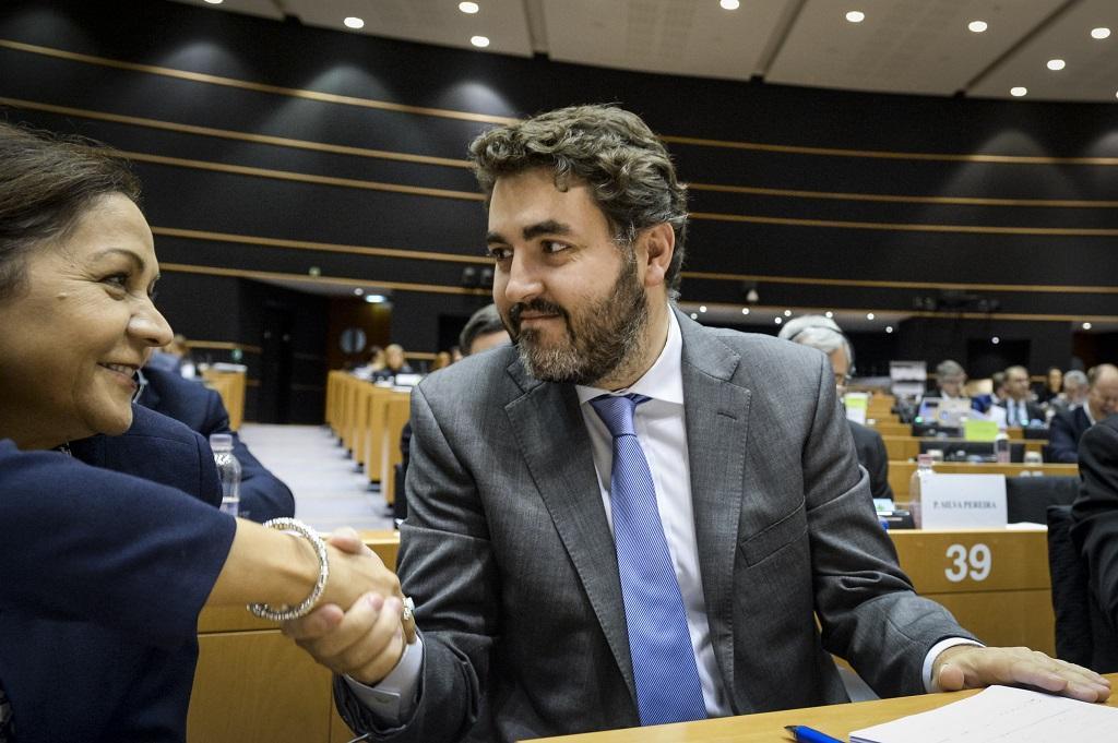 Jonás Fernández le da la mano a una eurodiputada